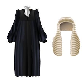 Realistisches schwarzes gerichtskleid mit ärmeln, weißer flügelkragen, lange perücke mit locken
