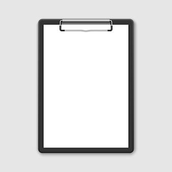Realistisches schwarzes klemmbrett 3d mit leerem weißem blatt