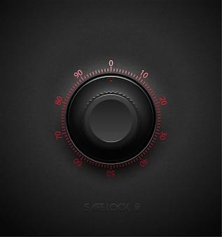 Realistisches schwarzes kombinationssafe-schloss-volumenelement auf strukturiertem dunklem plastikhintergrund. rot glänzende runde skala. vektorsicherheitssymbol oder gestaltungselement.