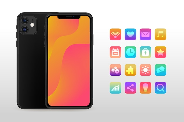 Realistisches schwarzes smartphone mit verschiedenen apps