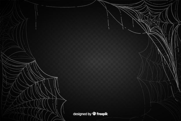 Realistisches schwarzes spinnennetz mit steigung