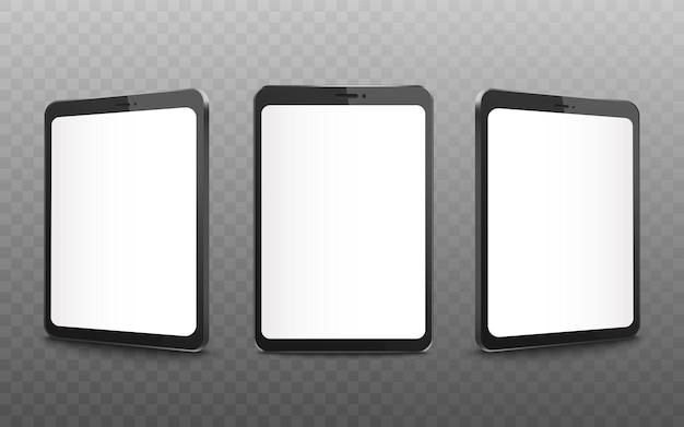 Realistisches schwarzes tablettmodell gesetzt mit leerem weißen bildschirm von der vorder- und seitenansicht