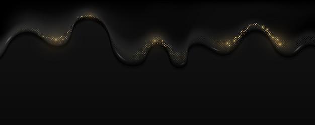 Realistisches schwarzöl mit goldenem glitzer-halbtoneffekt fließt nach unten