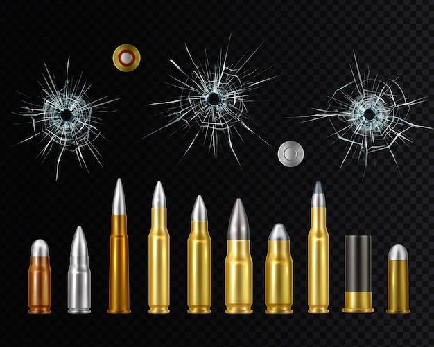 Realistisches set aus goldstahl- und kupferwaffenmunition mit einschusslöchern
