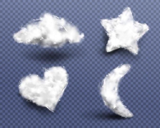 Realistisches set aus watte, wolken oder wattebällchen