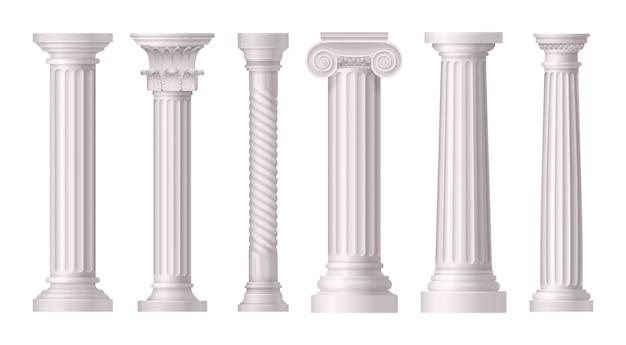Realistisches set der antiken weißen säulen mit verschiedenen stilen der griechischen architektur