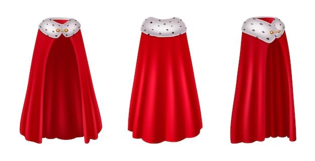 Realistisches set der roten mantelhaube mit drei isolierten ansichten des lila luxuskleides der königlichen robe
