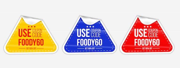 Realistisches set gelb blau und rot runde papierfalten notizen selbstklebende coupon faltenaufkleber mit gebogener ecke