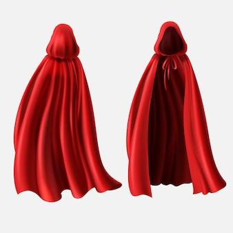 Realistisches set rote mäntel mit den hauben getrennt auf weißem hintergrund.