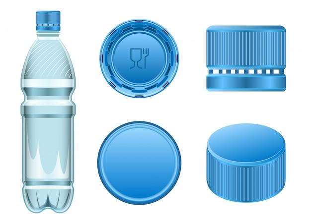 Realistisches set-symbol aus kunststoffkorken. illustrationsflasche der kappe auf weißem hintergrund. isolierter realistischer satzikonen-plastikkorken.