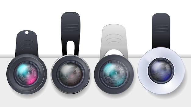 Realistisches set von clip-on-objektiven für mobile geräte, smartphones und tablets