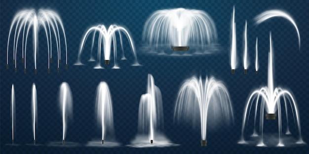Realistisches set von fontänen wasserstrahlen und weißer strahl von d-brunnen auf transparentem
