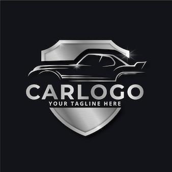 Realistisches silbernes logo der metallischen automarke