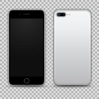 Realistisches silbernes schwarzes smartphone lokalisiert auf transparentem hintergrund. vorder- und rückansicht