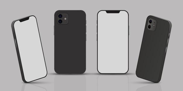 Realistisches smartphone aus verschiedenen perspektiven