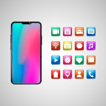 Realistisches smartphone-display mit apps