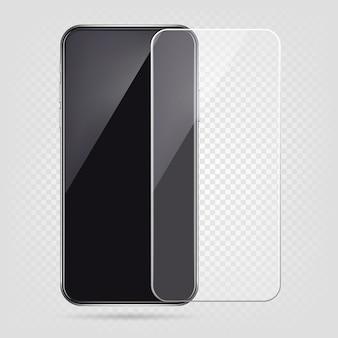 Realistisches smartphone, displayschutzfolie, transparente glasabdeckung des handys