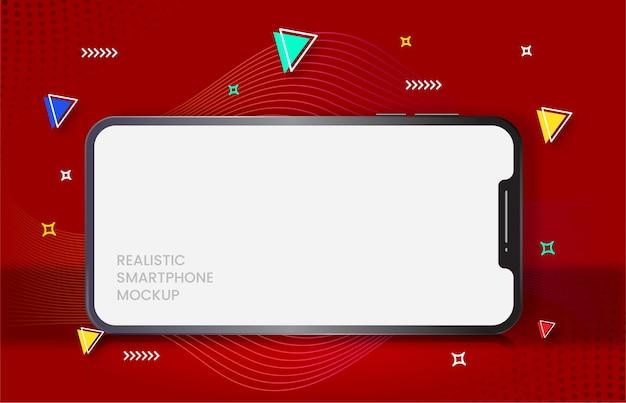 Realistisches smartphone im roten hintergrund