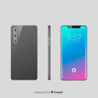 Realistisches smartphone in verschiedenen positionen