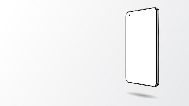 Realistisches smartphone lokalisiert auf weißem hintergrund.