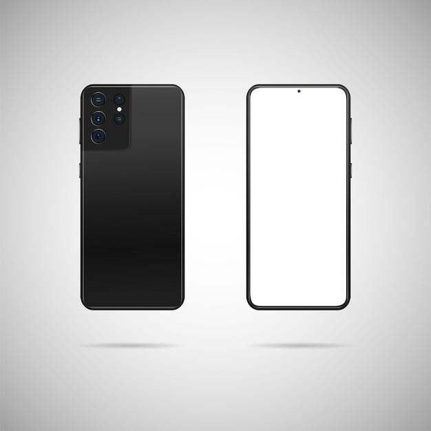 Realistisches smartphone mit abbildung hinten und vorne.