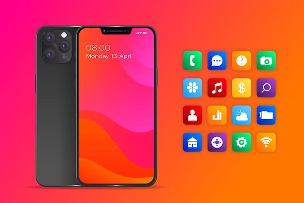 Realistisches smartphone mit apps in orangefarbenen farbverläufen