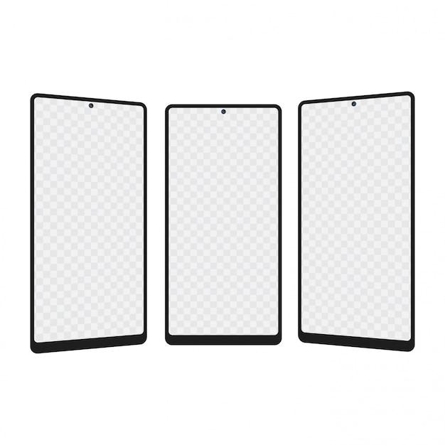 Realistisches smartphone mit drei positionen. vektor.