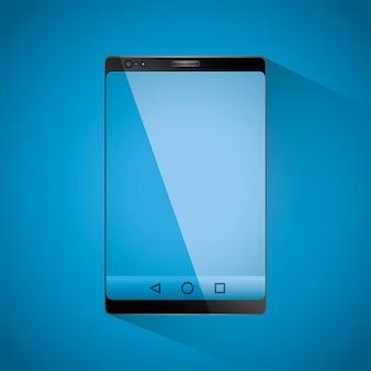 Realistisches smartphone mit einem mobilen gerät mit blauem bildschirm