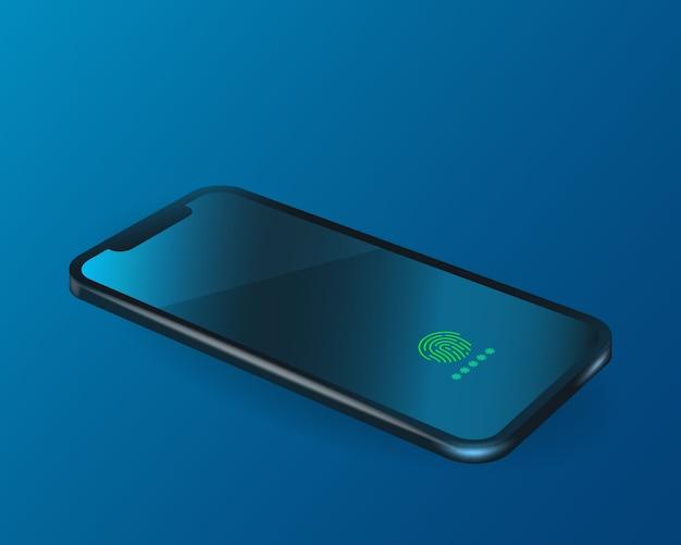 Realistisches smartphone mit fingerabdruckkennwort auf dem bildschirm