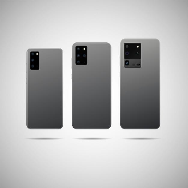 Realistisches smartphone mit rückseitiger illustration.