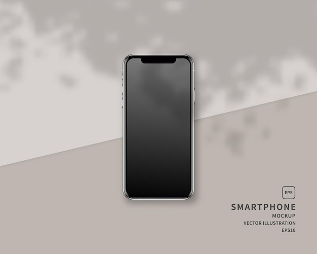 Realistisches smartphone mit schattenüberlagerung. szene.