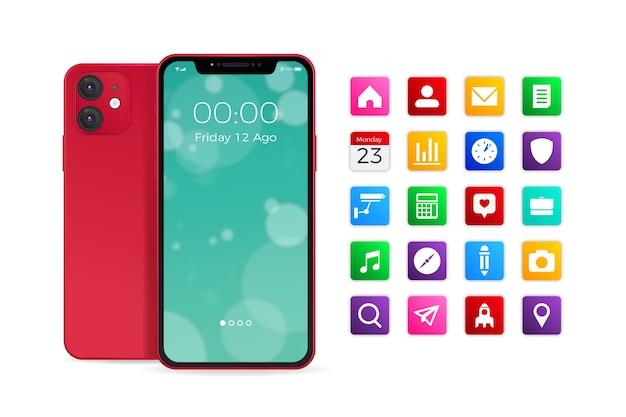 Realistisches smartphone mit verschiedenen apps