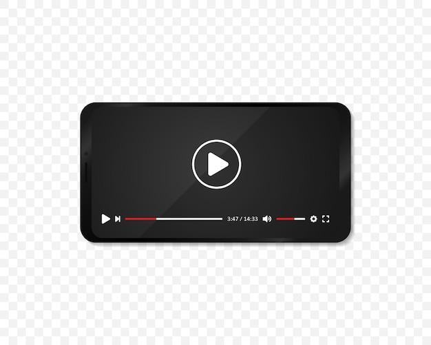 Realistisches smartphone mit videoplayer auf dem display. videoplayer oder kino-app auf dem telefonbildschirm