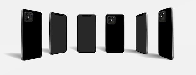 Realistisches smartphone mit vorder- und rückseite