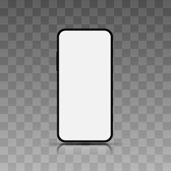 Realistisches smartphone. mobiltelefonfeld mit unbelegter bildschirmanzeige getrennten schablonen.