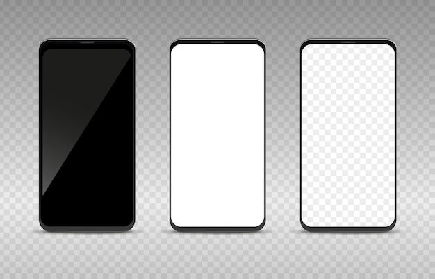 Realistisches smartphone-mockup-set. leere schwarz-weiße und transparente leere handyschablone, handy-display-vorderansicht-sammlung, isolierte vektorgrafik auf dem bildschirm des digitalen geräts