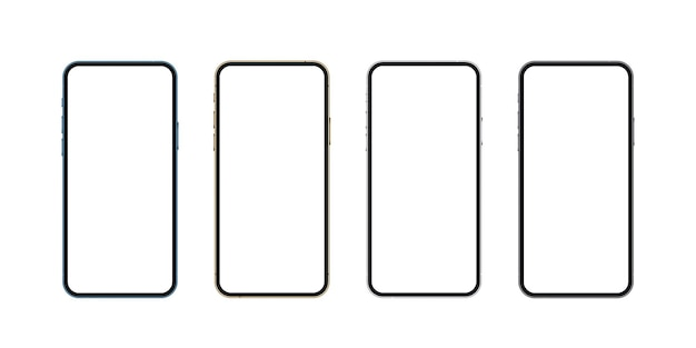 Realistisches smartphone-modell blau gold silber und schwarz mobiles isolierkonzept 3d telefonbildschirm