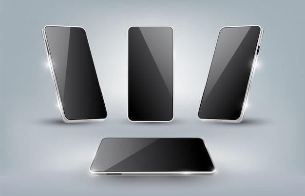 Realistisches smartphone-modell mit leeren schablonen isolierten vorlagen, verschiedenen winkeln wie vorderansicht, perspektivansicht, illustration