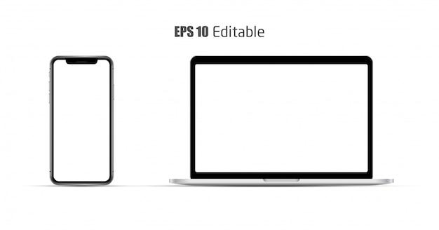 Realistisches smartphone und laptop