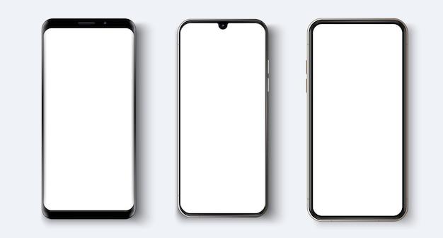 Realistisches smartphone. verschiedene smartphone-modelle. realistische telefonvorlage zum einfügen einer beliebigen ui-ux-schnittstelle
