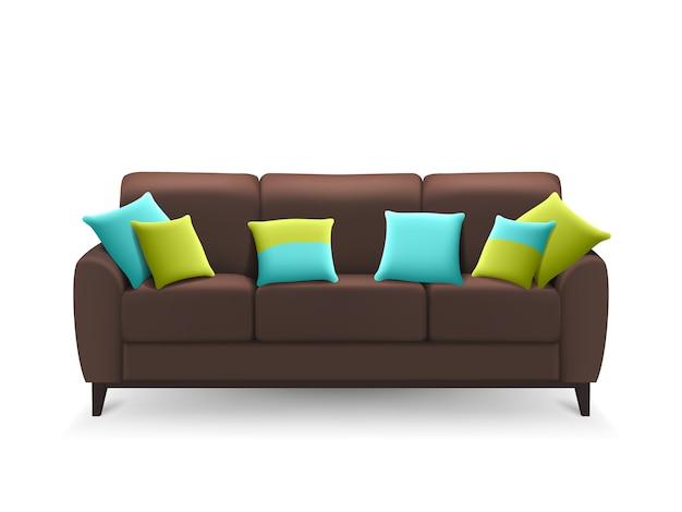 Realistisches sofa browns mit dekorativen kissen