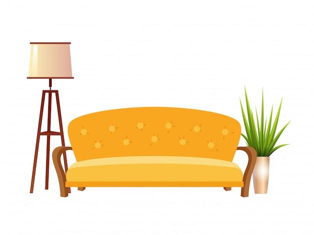 Realistisches sofa mit stehlampe