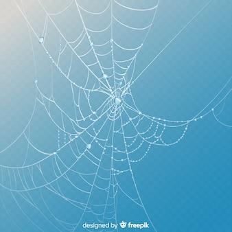 Realistisches spinnennetz auf hintergrund des blauen himmels