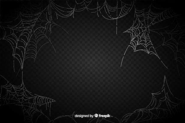 Realistisches spinnennetz auf schwarzem hintergrund