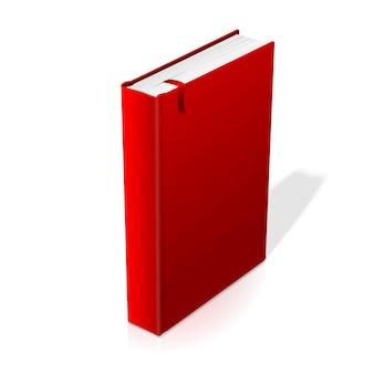 Realistisches stehendes rotes leeres hardcover-buch mit rotem lesezeichen. isoliert auf weißem hintergrund mit weicher reflexion für design und branding. vektor-illustration