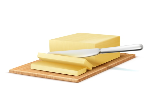 Realistisches stück 3d butter mit metallmesser auf hölzernem behälter.