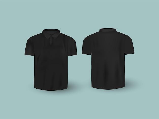 Realistisches t-shirt mockup in vorder- und rückansicht auf blauem hintergrund.