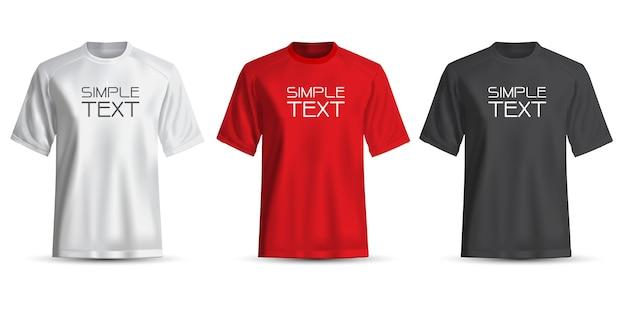 Realistisches t-shirt weiß rot schwarz auf weiß Premium Vektoren