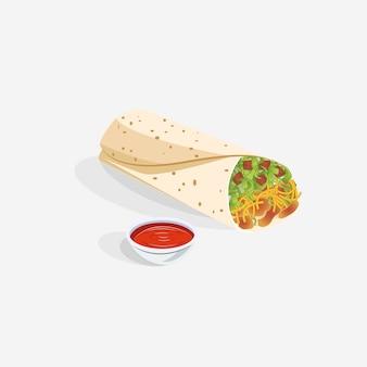 Realistisches taco burrito-lebensmittel