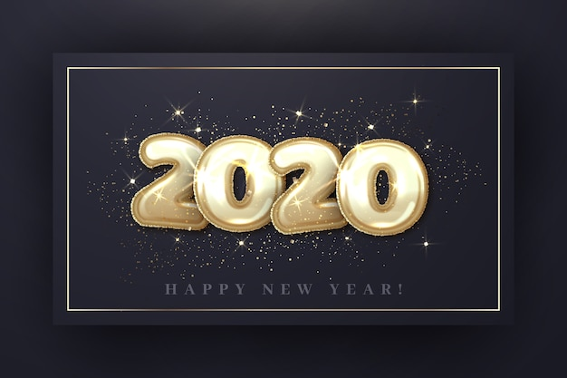 Realistisches tapetenkonzept der ballons des neuen jahres 2020